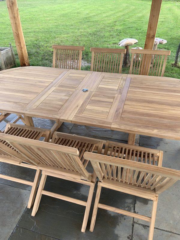 8 seater teak outdoor dining set