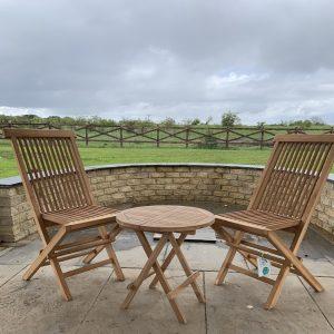 2 seater bistro garden set in teak