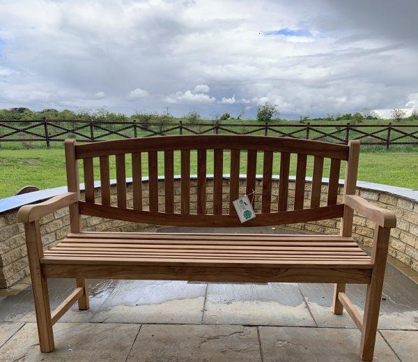 oval teak bench