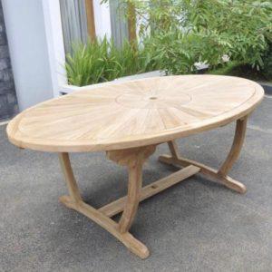 Teak sunburst oval table