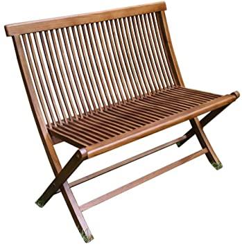 teak 2 seater folding bench